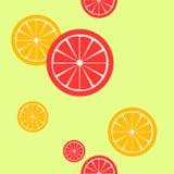 Fette del pompelmo e dell'arancia su fondo verde chiaro Immagini Stock Libere da Diritti