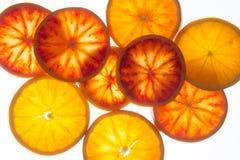 Fette dell'arancia sanguinella (vista superiore) Immagini Stock Libere da Diritti