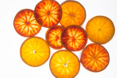 Fette dell'arancia sanguinella (vista superiore) Fotografia Stock Libera da Diritti