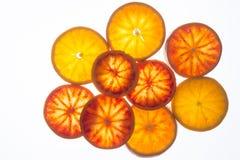 Fette dell'arancia sanguinella (vista superiore) fotografie stock libere da diritti