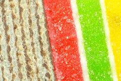 Fette della cialda e priorità bassa della gelatina Immagine Stock Libera da Diritti