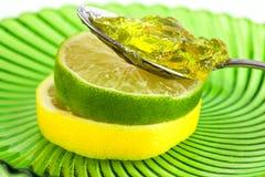 Fette della frutta della limetta e del limone con marmellata d'arance Fotografie Stock Libere da Diritti