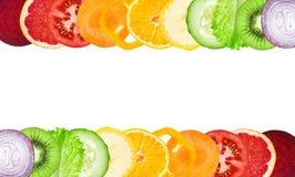 Fette della frutta e della verdura di colore Fotografia Stock Libera da Diritti
