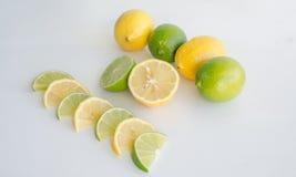 Fette della limetta e del limone Fotografia Stock Libera da Diritti