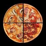 Fette della pizza della raccolta sul nero Immagine Stock Libera da Diritti