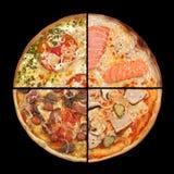 Fette della pizza della raccolta sul nero Immagine Stock