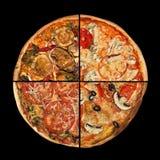 Fette della pizza della raccolta sul nero Fotografie Stock