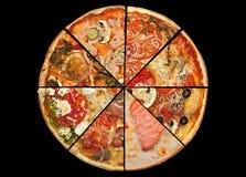 Fette della pizza della raccolta sul nero Immagini Stock Libere da Diritti