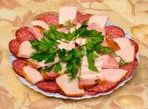 Fette della salsiccia Fotografia Stock