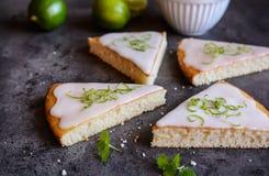 Fette della torta della calce chiave Fotografia Stock