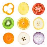 Fette della verdura e della frutta Immagini Stock Libere da Diritti