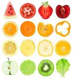 Fette della verdura e della frutta Fotografia Stock