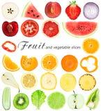 Fette della verdura e della frutta Fotografie Stock