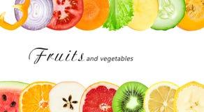 Fette della verdura e della frutta fresca Fotografia Stock