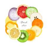 Fette della verdura e della frutta fresca Immagini Stock Libere da Diritti