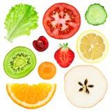 Fette della verdura e della frutta fresca Immagini Stock
