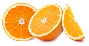 Fette delle arance isolate su bianco Fotografia Stock