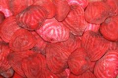 Fette di barbabietole fresche Fotografia Stock