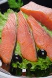 Fette di color salmone sulla zolla fotografia stock