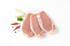 Fette di filetto di carne di maiale Fotografia Stock