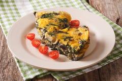 Fette di frittata con spinaci, formaggio ed i funghi su un piatto Fotografia Stock Libera da Diritti