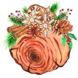 Fette di legno dell'acquerello con la decorazione di Natale fotografia stock
