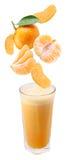 Fette di mandarino che cadono in un vetro di fresco Immagini Stock