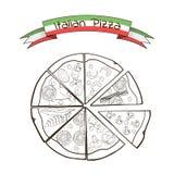 Fette di pizza con differenti materiali da otturazione in a Fotografia Stock Libera da Diritti