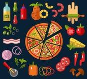 Fette di pizza e di ingredienti Immagini Stock Libere da Diritti