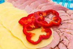 Fette di prosciutto e di formaggio Immagini Stock Libere da Diritti