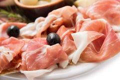 Fette di prosciutto di Parma Crudo, prosciutto italiano Fotografia Stock Libera da Diritti
