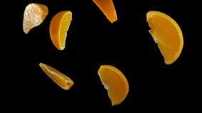 Fette di rimbalzo arancio contro alla macchina fotografica stock footage