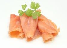 Fette di salmoni affumicati immagini stock libere da diritti