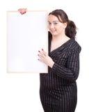 Fette Frau mit unbelegtem Zeichen, Anschlagtafel Stockfoto