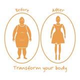 Fette Frau und formschöne Frau Wandeln Sie Ihren Körper um stock abbildung