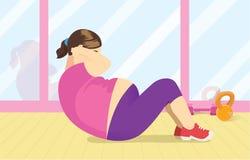 Fette Frauenübung mit dem Handeln von Krise an der Turnhalle Stockbilder