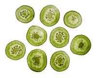 Fette fresche trasparenti di kiwi Fotografia Stock