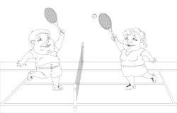 Fette Leute, die Tennis auf dem Gericht spielen Weißes und schwarzes Bild Lizenzfreie Stockbilder