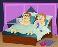 Fette Leute im Bett Stockbilder