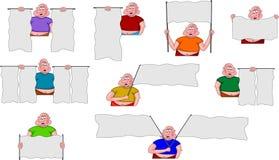 Fette Männer mit den Markierungsfahnen benutzt für Meldungen Stockfotografie