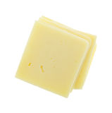 Fette quadrate del cheddar su fondo bianco Fotografia Stock