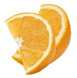 2 fette quarte arancio isolate insieme su fondo bianco Immagini Stock Libere da Diritti