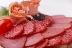 Fette sottili di salsiccia e di carne su un fondo di bianco del piatto Immagini Stock Libere da Diritti
