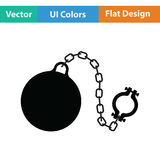 Fetter with ball icon. Flat color design. Vector illustration Royalty Free Stock Photos