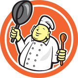 Fetter Buddha-Chef-Koch Holding Pan Circle Cartoon Lizenzfreies Stockbild