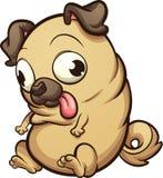 Fetter Karikatur Pug, der unten schaut vektor abbildung