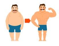 Fetter und dünner Mann mit dem Schnurrbart lizenzfreie abbildung