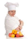 Fetter weiblicher Koch mit Früchten, Serie lizenzfreie stockfotos