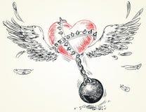 Fetters impastoiati cuore alati Immagini Stock Libere da Diritti