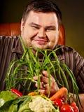 Fettes Fleisch fressendes gesundes Lebensmittel der Diät Gesundes Frühstück mit Gemüse Lizenzfreies Stockfoto